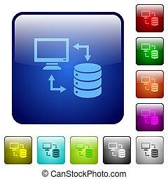 plein, databank, kleur, knopen, syncronize, data