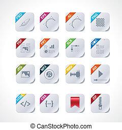 plein, eenvoudig, etiketten, set, bestand, pictogram