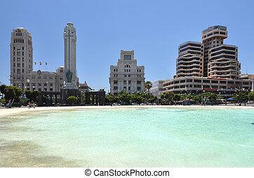 plein, eiland, cruz., tenerife, kerstman, canaries, spanje