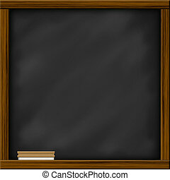 plein, frame., houten, bord, frame, textuur, krijt, chalkboard, leeg, brush., sporen, lege