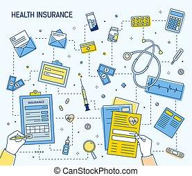 plein, geld, kosten, verzekering, uit, gereedschap, muntstukken., het berekenen, omringde, gezondheid, document, lineair, kleurrijke, geneesmiddelen, rekeningen, handen, spandoek, illustration., medisch, vullen, vector, gezondheidszorg