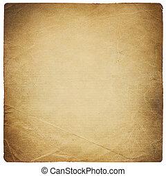 plein, gevormd, oud, gescheurd document, sheet., vrijstaand, op, white.