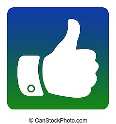 plein, groenachtig blauw, illustration., achtergrond., isolated., hoeken, meldingsbord, helling, vector., afgerond, witte , hand, pictogram