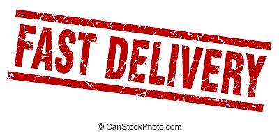 plein, grunge, postzegel, snelle levering, rood