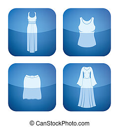 plein, iconen, kleding, kobalt, 2d, woman\'s, set: