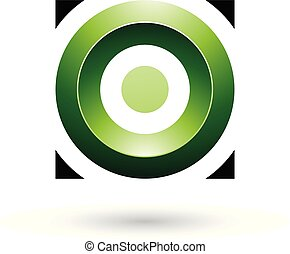 plein, illustratie, vector, groene, glanzend, cirkel