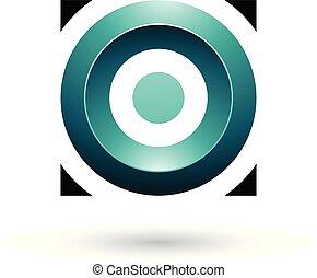 plein, illustratie, vector, groene, glanzend, cirkel, perzisch