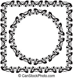 plein, illustration., set., ronde, vector, verfraaide, frame