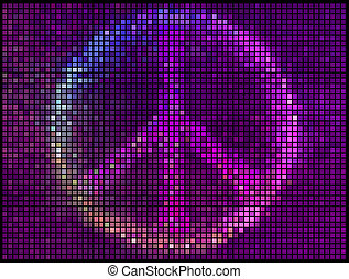 plein, lichten, abstract, vrede teken, achtergrond., veelkleurig, vector, pixel, mozaïek
