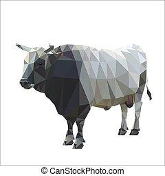 plein-longueur, image, bull., vecteur, polygonal