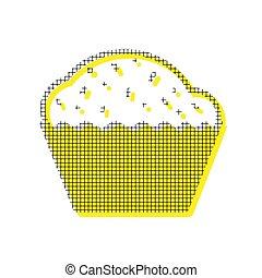 plein, model, teken., gele, cupcake, duplicaat, vector., pictogram