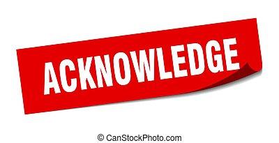 plein, peeler, vrijstaand, teken., acknowledge, sticker., etiket