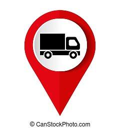 plein, pictogram, knoop, internet, vrachtwagen
