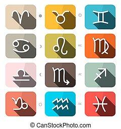 plein, set, horoscoop, iconen, -, vector, zodiac