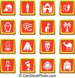 plein, set, iconen, egypte, reizen, vector, rood