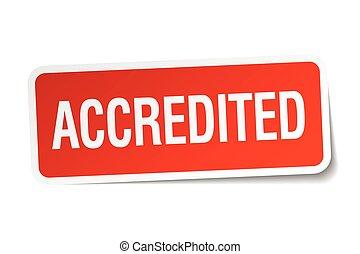 plein, sticker, vrijstaand, accredited, wit rood