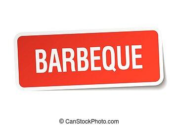 plein, sticker, vrijstaand, wit rood, barbeque