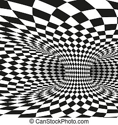 plein, wormhole, tunnel, abstract, witte , illustratie, vector, black , geometrisch, illusion., optisch, distort.
