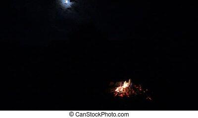 pleine lune, camping, nuit