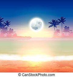 pleine lune, exotique, arrière-plan., plage, night.