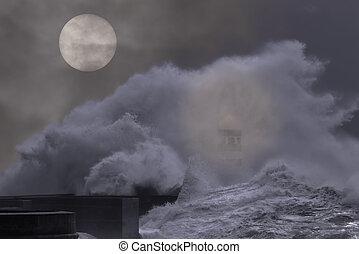 pleine lune, océan, nuit, orageux