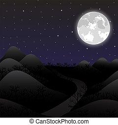pleine lune, paysage, nuit