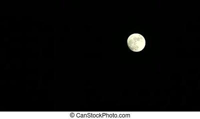 pleine lune, peu, nuit, croissant, en mouvement, avant,...
