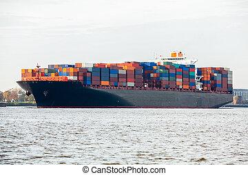 pleinement, chargé, navire porte-conteneurs, dans, port