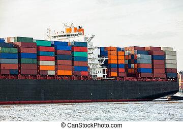pleinement, récipient bateau, port, chargé