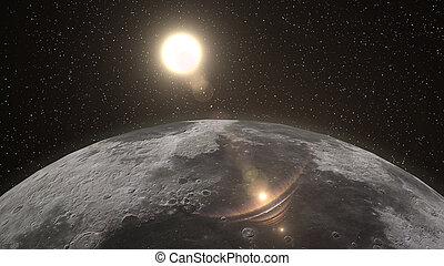 pleinement, sur, surface, lune, lit, horizon, levers de soleil