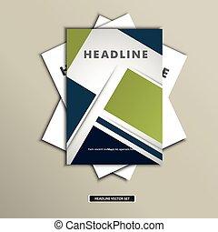 pleinen, achtergrond, brochures, set, vector