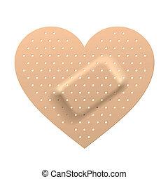 pleister, in vorm, van, hart