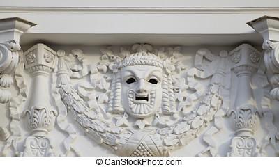 pleister, masker, op, de muur, van, de, theater.