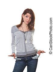 pleite, jonge vrouw , het tonen, haar, lege zakken