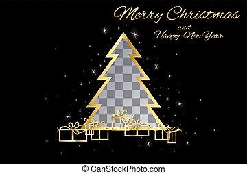 plek, knippen, boompje, kerstmis, goud