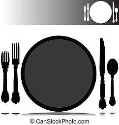 plek, silhouettes, vector, set