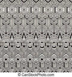 plemienny, pattern., seamless, ręka, tło., wektor, pociągnięty