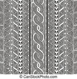 plemienny, pattern., seamless, tło., wektor, monochromia