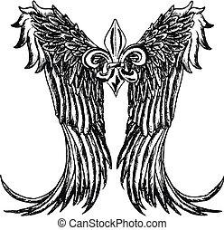 plemienny, projektować, skrzydło