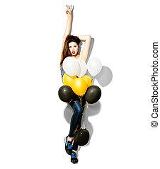 pleno retrato comprimento, de, beleza, modelo moda, menina, com, balões coloridos