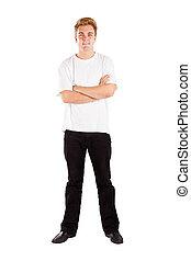 pleno retrato comprimento, de, homem jovem, isolado