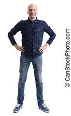 pleno retrato comprimento, de, um, casual, homem calvo