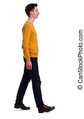 pleno retrato comprimento, de, um, homem, andar., isolado