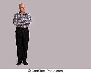 pleno retrato comprimento, de, um, homem velho