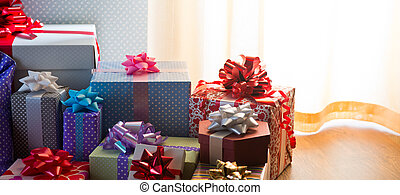 Plenty of colorful presents - Plenty of colorful wrapped ...