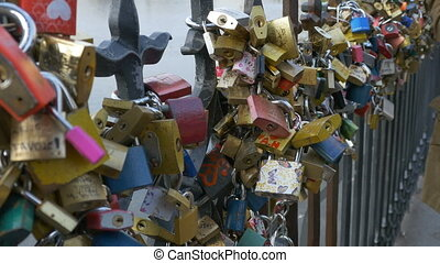 Plenty of Love Locks on Fence - A multitude of romantic love...