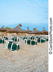 Plenty of sun loungers on the beach.