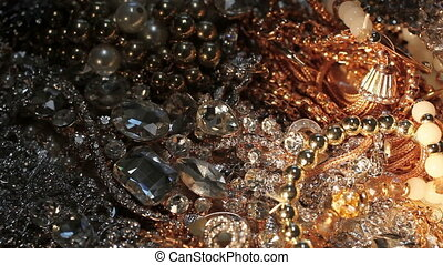 Plenty of various pieces of beautiful jewelry. Close-up