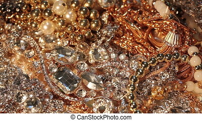 Plenty of various pieces of beautiful luxury jewelry. Close-up