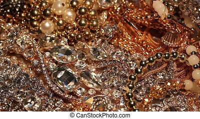 Plenty of various pieces of shining beautiful jewelry